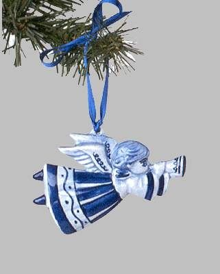 "View a larger picture of Christmas Ornament Delft ""Flying Angel"" Blue:"