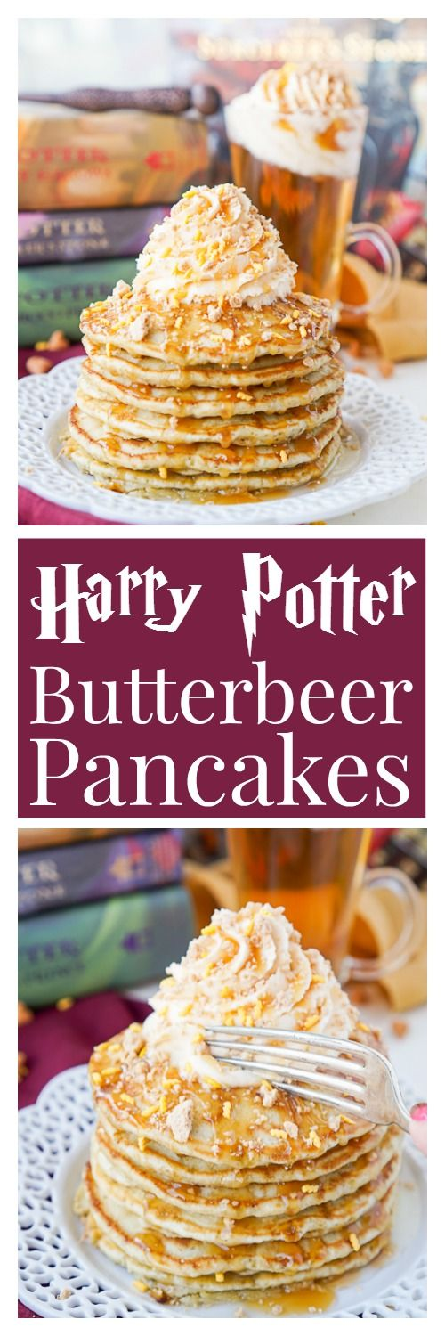 Harry Potter Butterbeer Pancakes Recipe via Sugar & Soul - These are the perfect nerdy start to your day or a great way to kick off The Chosen One's birthday!