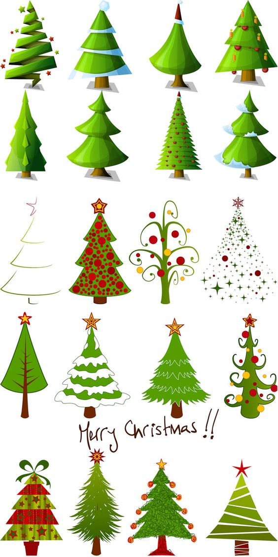 2 Sets of 20 vector cartoon Christmas tree designs in