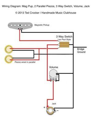 Ted Crocker wiring diagram  1 Single Coil, 2 Piezo, 1 Vol