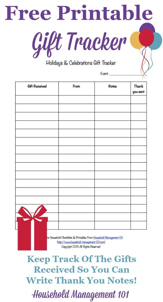 Printable Holidays Amp Celebrations Gift Tracker Remember