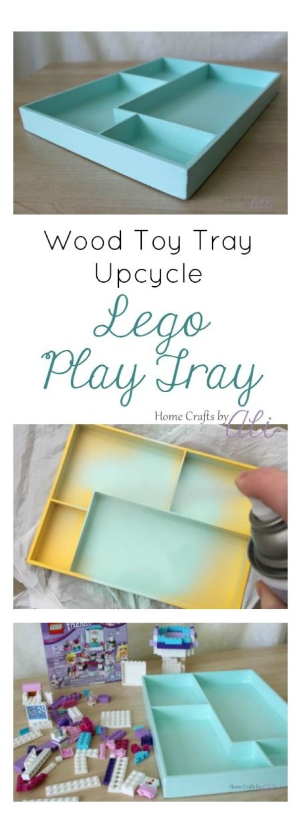 Wood Toy Tray Upcycle Into Lego Play Tray - Follow this simple 3 step tutorial to makeover a tray into a cute Lego play area.: