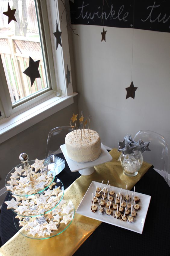 Starry Night Themed Birthday Party 1st Birthday Gold