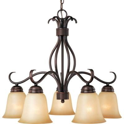 illumine 5 light oil rubbed bronze chandelier with wilshire glass shade hd ma40814554 at the home depot home pinterest maison huile et luminaires