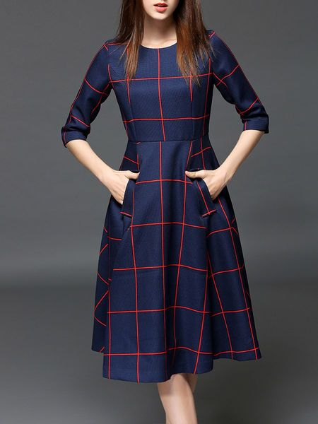 Pockets Color Block Midi Dress: