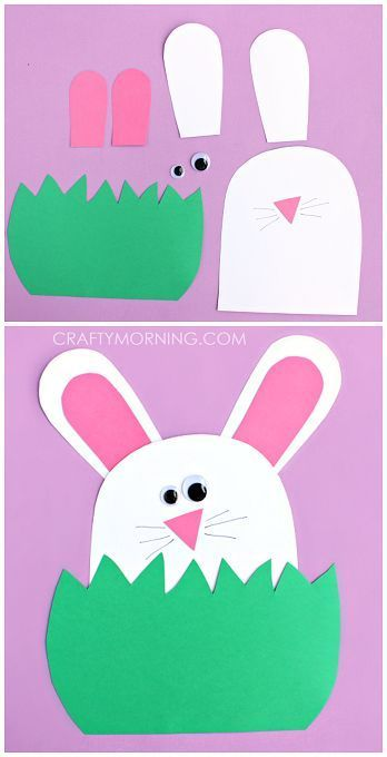 Paper Bunny Hiding in the Grass- Easy Kids Easter Crafts