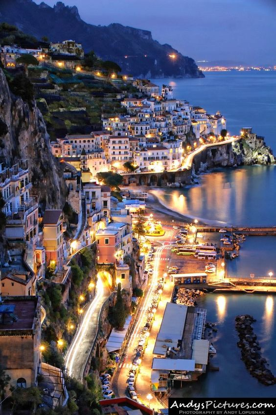 Amalfi at Night - Sorrento - Italy...I was there during the DAY...I need to go back, right?: