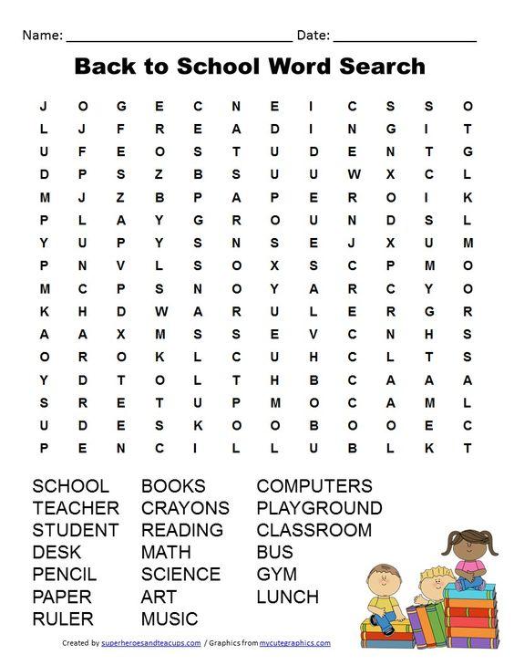 Free Printable - Back to School Word Search | Superheroes & Teacups