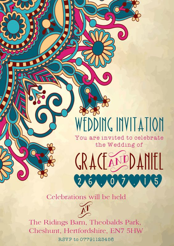 Details about PERSONALISED MOROCCAN/INDIAN ELEGANT WEDDING