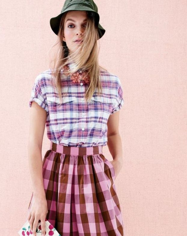 J Crew mad hatter ad plaid shirt with gingham skirt and cherry print clutch