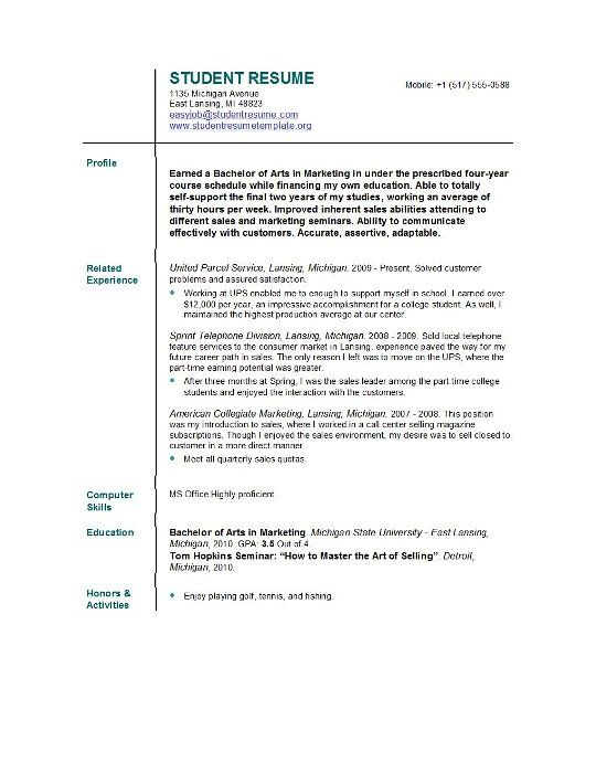 student resume resume and college students on pinterest