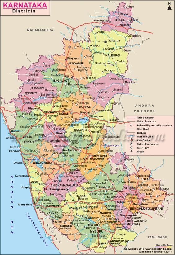 Karnataka District Map District Maps Pinterest Maps