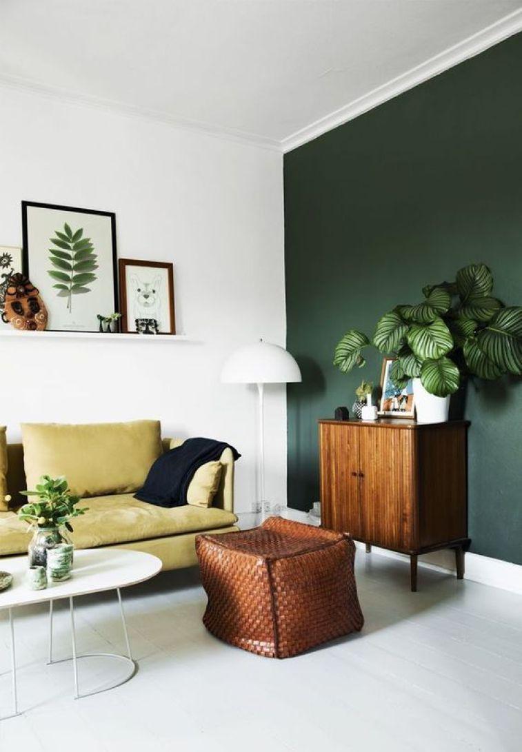 danish modern, retro, houseplants, wire planter, mustard yellow sofa, scandinavian interior, apartment, boho chic, botanical decor: