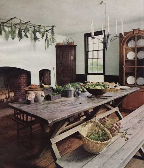 love large farm tables/ and nearby fireplaces are always welcome:
