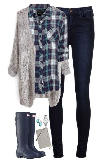 """Navy & teal plaid with gray cardigan"" by steffiestaffie ❤ liked on Polyvore featuring J Brand, Rails, Hunter, Kendra Scott, MICHAEL Michael Kors and FOSSIL:"