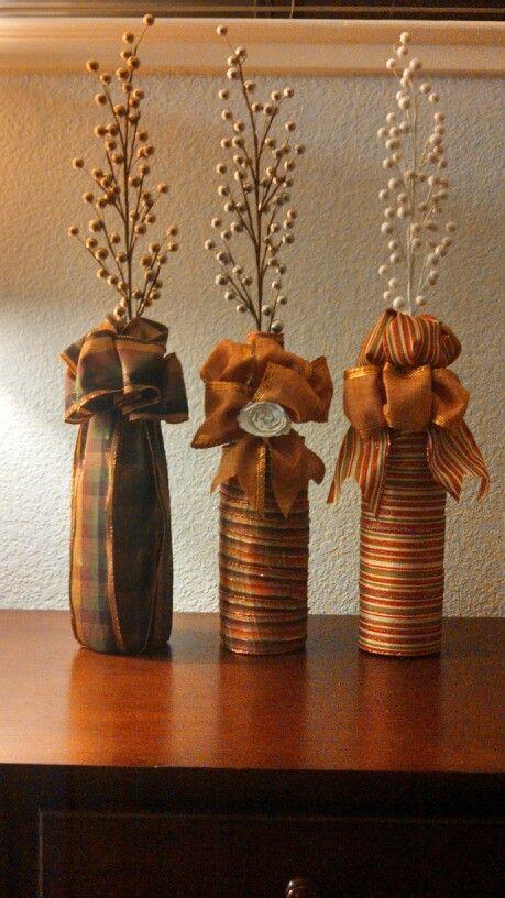 Fall Wine Bottles Wrapped In Ribbon FallHalloween