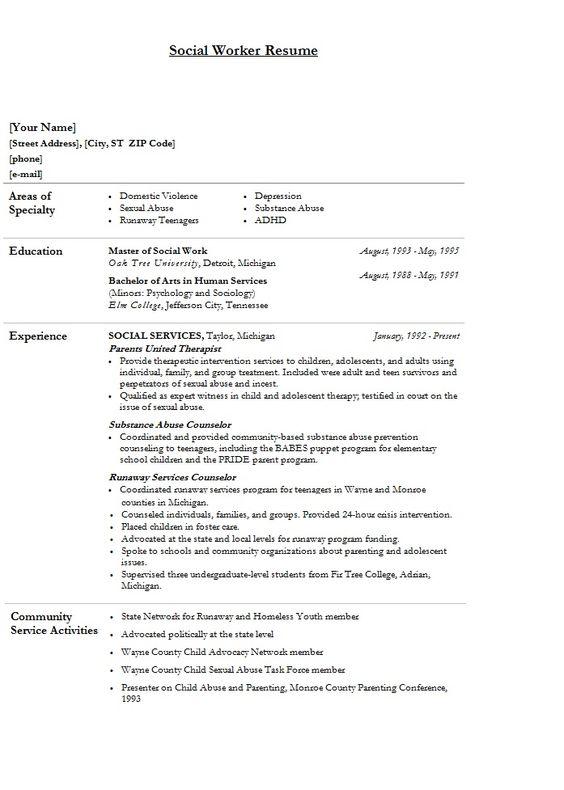 Msw Resume Objective Samples. Msw Resume Sample Sample Social Work