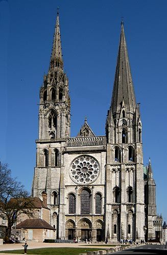 Cathedral of Our Lady of Chartres (French: Cathédrale Notre-Dame de Chartres), is a medieval Roman Catholic cathedral best known as the finest example of French Gothic architecture.:
