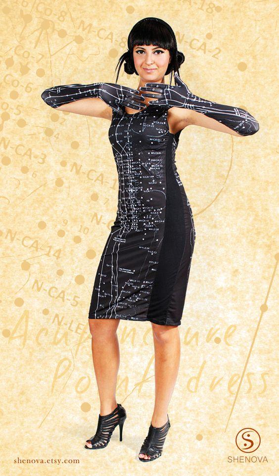 Acupuncture Points Dress, Qi Flow, Meridians Dress, Black