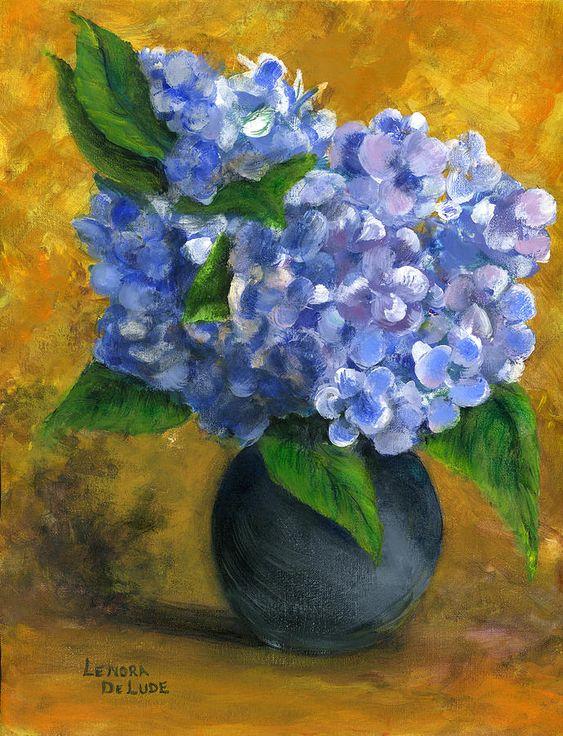 Black vase, Hydrangeas and How to paint on Pinterest