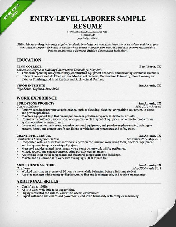 entry level construction and resume on pinterest