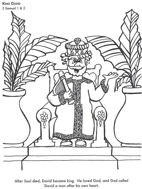 king david bible coloring page for kids to learn bible stories