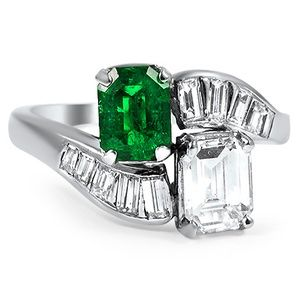 Vintage Engagement Rings Emerald and Diamond Wedding Ring Dual Stone Design Jackie Kennedy Onassis