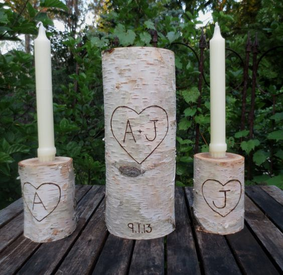 LARGE Personalized Birch Bark Unity Candle 10 by BirchHouseMarket, $41.95