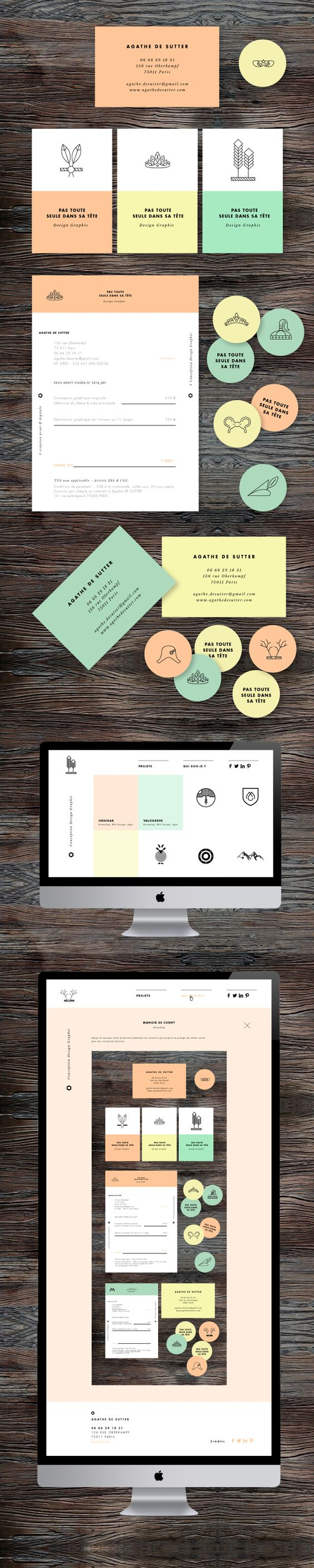 Colorful branding concept for a design studio, clean modern, use of icons and colors