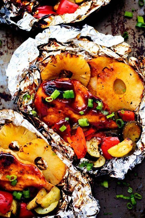 Grilled Hawaiian Barbecue Chicken in Foil Recipe | The Recipe Critic