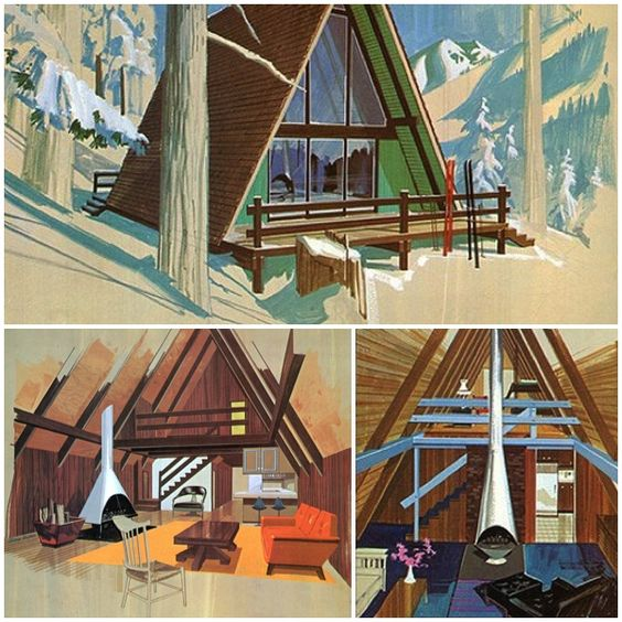 Vintage Cabins | Mid-Century Modern | A-Frame House | Residential Architecture | Home Ideas | Interior Design: