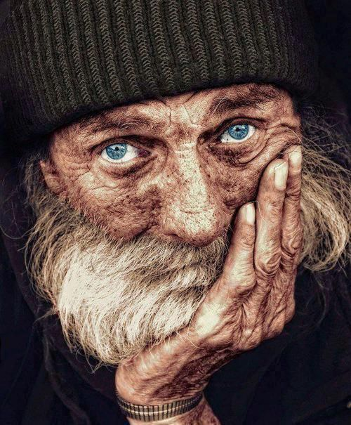 Portrait of a homeless man ~ Look at the depth of emotion in his eyes....:
