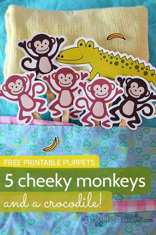Printable Puppets Five Cheeky Monkeys... and a Crocodile