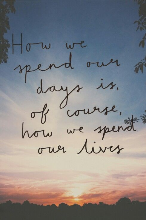 How we spend our days is, of course, how we spend our lives Annie Dillard: