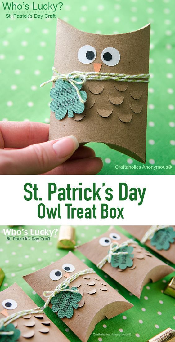 St. Patrick's Day Paper Craft Owl Treat Box via Craftaholics Anonymous - An owl of a tutorial! Makes a super cute gift for the lucky day.