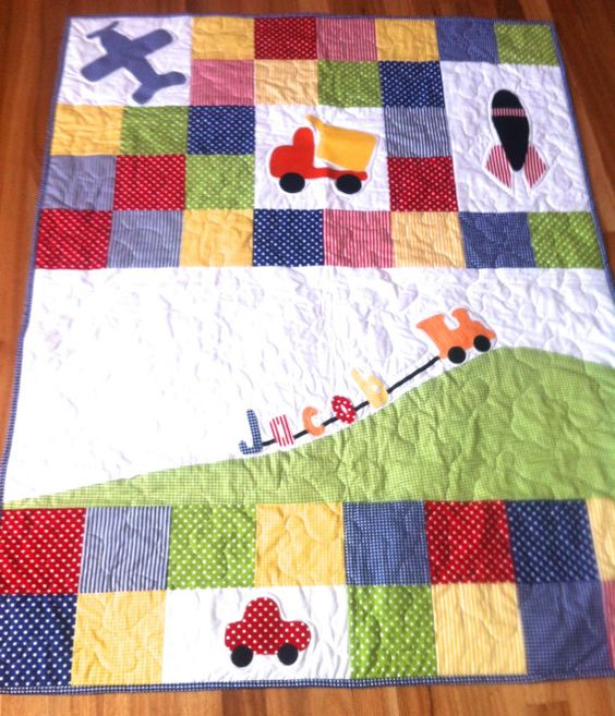 Personalised Baby Boy Quilt with truck, plane, train, car, rocket, made to order, modern quilt, baby boy crib quilt, green, blue, red,: