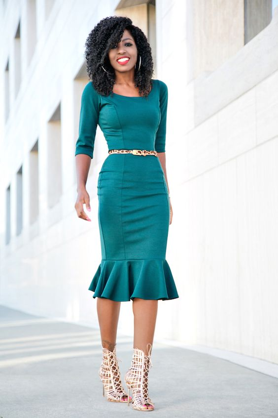 Green Frill Midi Dress: