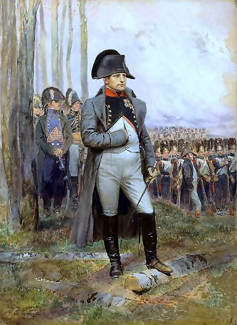 Napoleon is often represented in his green colonel uniform of the Chasseur à Cheval of the Imperial Guard, the regiment that often served as his personal escort, with a large bicorne and a hand-in-waistcoat gesture —a reference to the painting produced in 1812 by Jacques-Louis David. During the Napoleonic Wars he was taken seriously by the British press as a dangerous tyrant, poised to invade. He was often referred to by the British as Boney.: