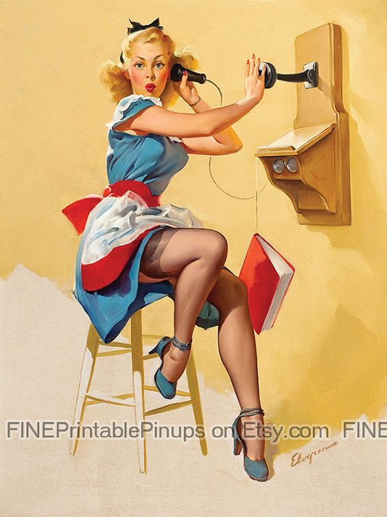Vintage Pinup Art Girl On The Phone Pin Up Guess Who