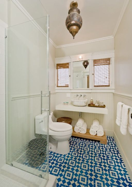 Great bathroom with blue tile and Moroccan touches...well done...and it's a West Hollywood rental on VRBO: