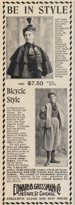 Black broadcloth cape and bicycling outfit in 'The Ladies Home Journal', March 1896.: