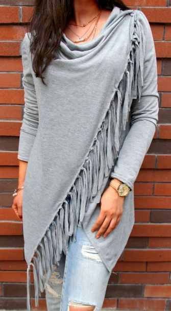 Only $26.99❤️! Gray Single Button Tassel Asymmetrical Hem Shawl Black and white coat Search more at CHICNICO!: