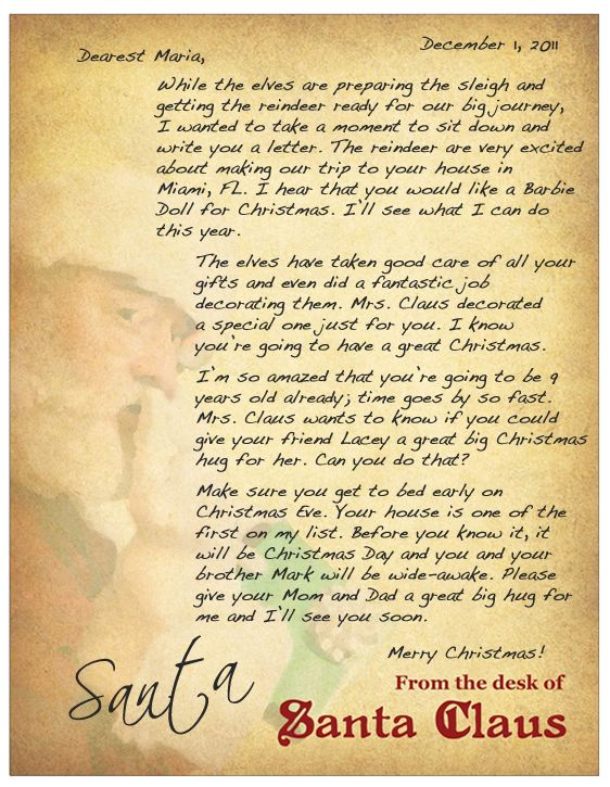 Personalized Letter from Santa Christmas Pinterest