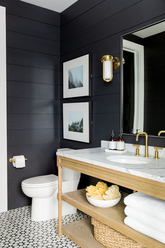 Adding shiplap and painting navy would make a beautiful powder room and make a…: