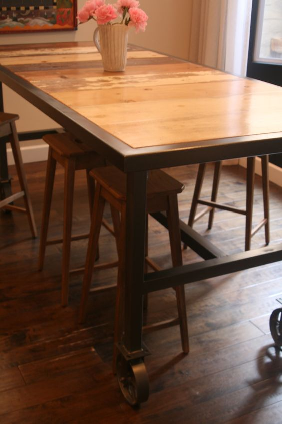 Bar Height Dining Table On 6 Caster Wheels With Reclaimed