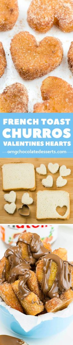 French Toast Churro Bites in heart shapes is cute idea if you need quick and EASY BREAKFAST Recipe. It's simple to make for yours kids before they go to school in the mornings, or if you want to serve romantic breakfast in bed for him on Valentine's Day.: