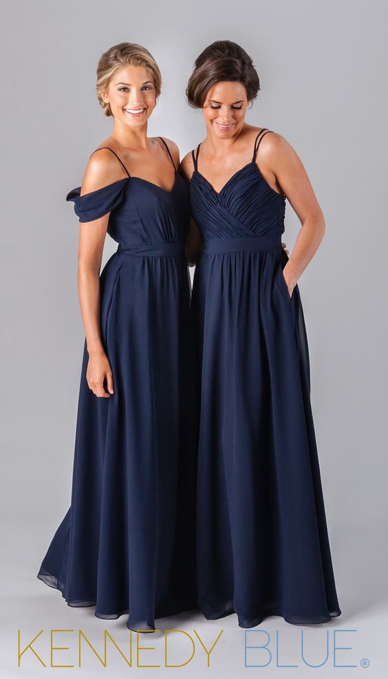 Mix and match chiffon bridesmaid dresses in navy from the Fall 2016 collection.:
