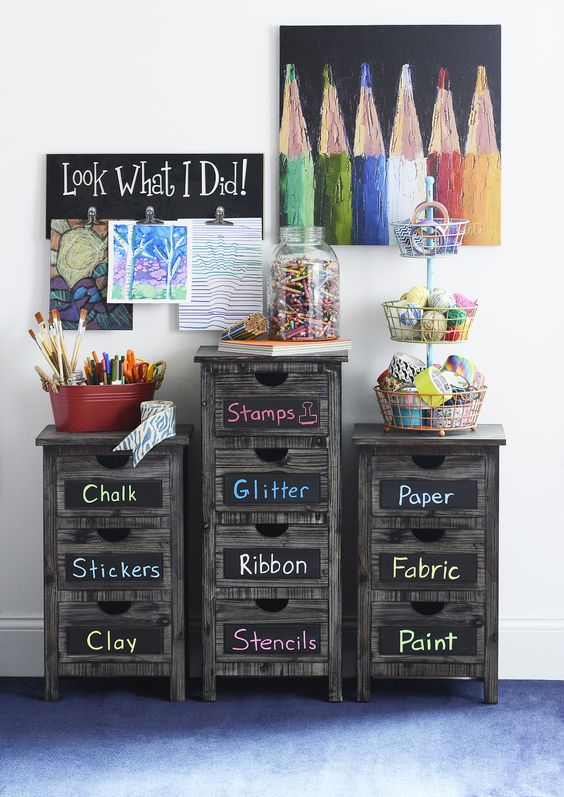The Whitman Storage Collection features blackboard panels and a rustic feel! This artsy decor is perfect for kids' rooms, playrooms or your craft room. Keep yourself organized with chests, console tables and more!: