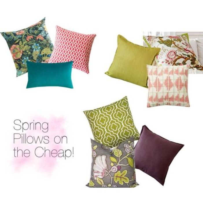Spring Pillows by michele-wesdock on Polyvore featuring interior, interiors, interior design, home, home decor, interior decorating, Pottery Barn, Cost Plus World Market and West Elm: