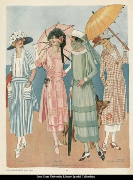 1918 The Delineator --blue striped dress: